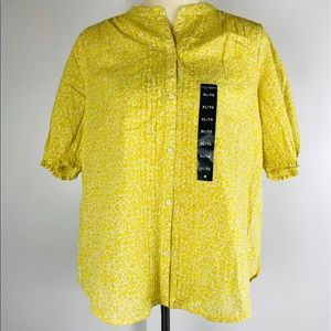 Lucky Brand NWT Button Up Yellow Floral Shirt XL